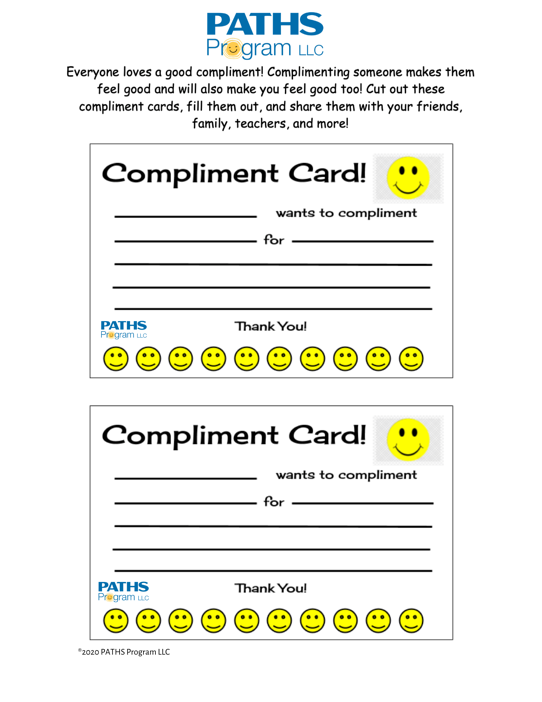 PATHS Compliment Cards